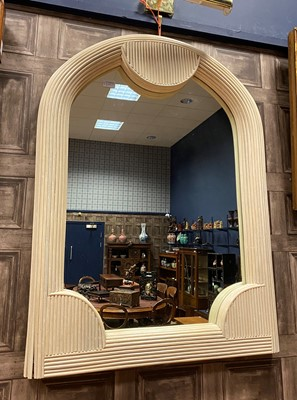 Lot 1639 - AN ART DECO REVIVAL PAINTED SPLIT CANE WALL MIRROR