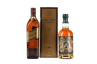 Lot 73 - JOHNNIE WALKER GOLD LABEL CENTENARY BLEND AGED 18 YEARS AND THE GORDON HIGHLANDERS