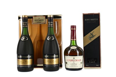 Lot 74 - TWO BOTTLES OF REMY MARTIN VSOP AND ONE COURVOISIER 3 STAR