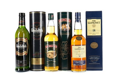 Lot 89 - GLENLIVET  18 YEARS OLD, GLENFIDDICH 12 YEARS OLD AND DRUMGUISH