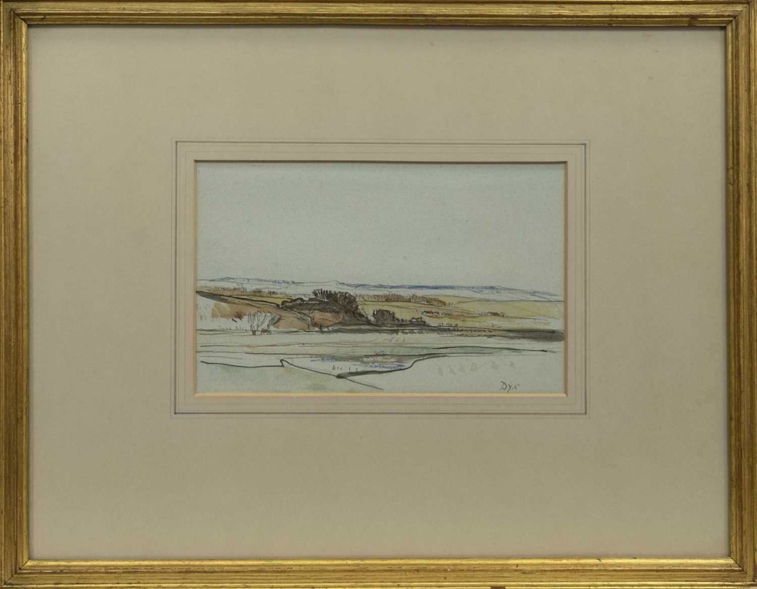 Lot 64 - LOWLAND HILLS, A WATERCOLOUR BY D Y CAMERON