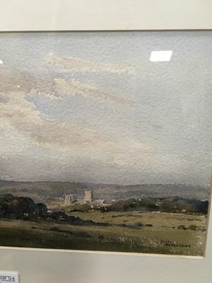 Lot 63 - A DISTANT VIEW OF WELLS, SOMERSET, A WATERCOLOUR BY ARTHUR ACKERMANN