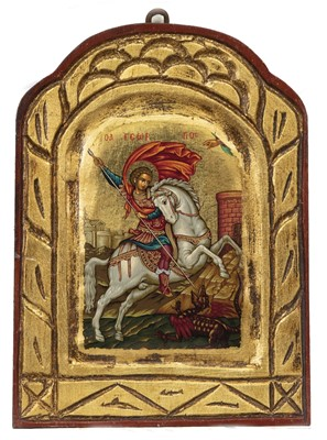 Lot 62 - SAINT GEORGE AND THE DRAGON, A RUSSIAN ICON
