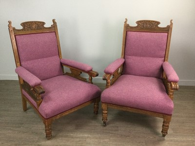 Lot 1644 - A PAIR OF LATE 19TH CENTURY OAK FRAMED ARMCHAIRS