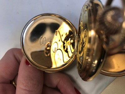 Lot 705 - A NALLOG NINE CARAT GOLD FULL HUNTER POCKET WATCH