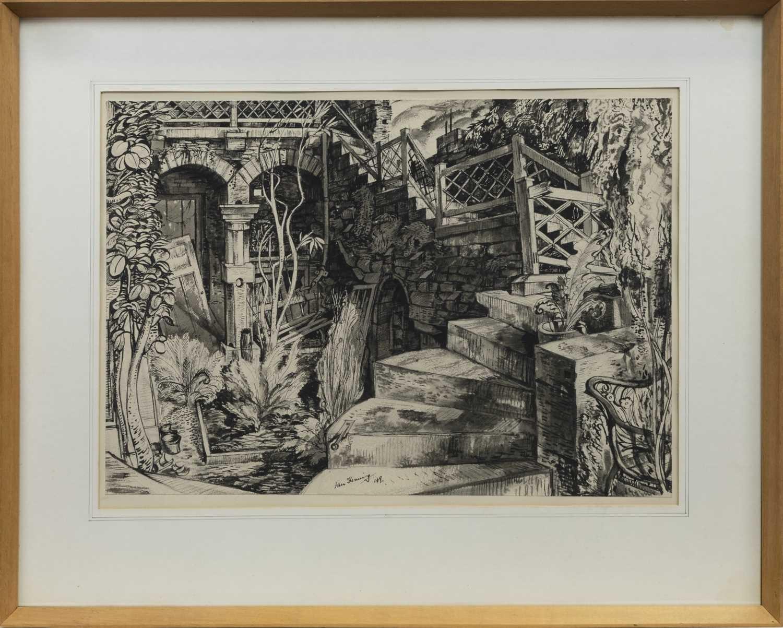 Lot 29 - THE RUINED FERNERY HOSPITALFIELD, 1949, A WATERCOLOUR BY IAN FLEMING