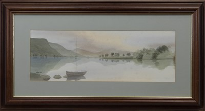 Lot 67 - BOAT AT THE LOCH, A SCOTTISH WATERCOLOUR