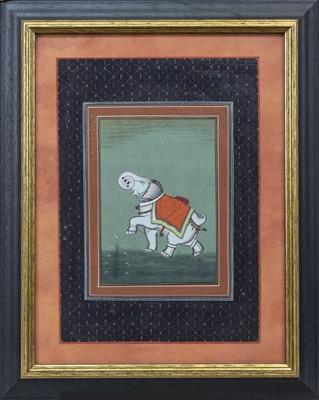 Lot 74 - AN INDIAN SCHOOL PAINTING OF AN ELEPHANT