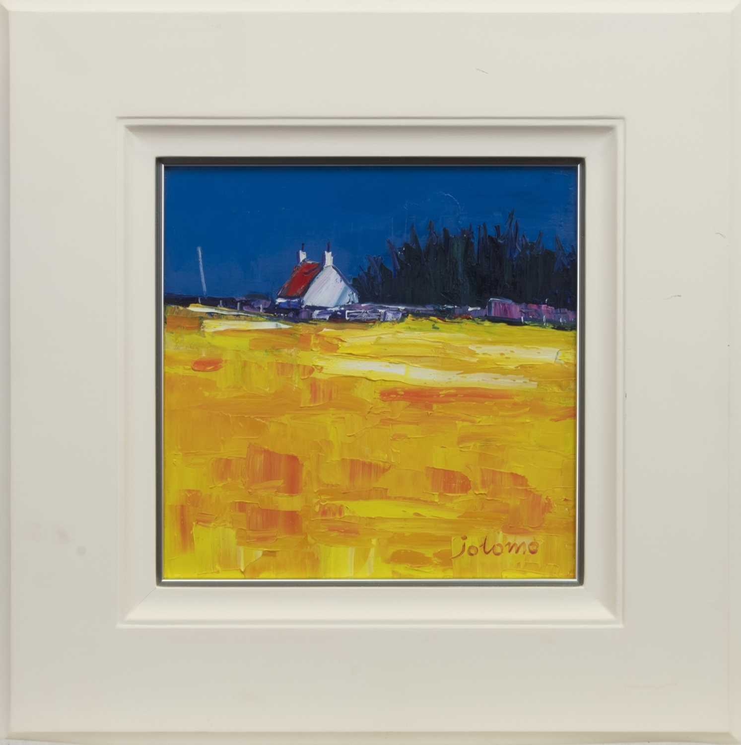 Lot 502 - CROFT AND COPSE, KILBERRY, ARGYLL, AN OIL BY JOLOMO
