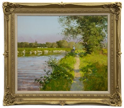 Lot 504 - FISHING ON THE RIVER OUSE, AN OIL BY JOHN HASKINS