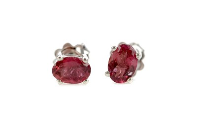 Lot 925 - A PAIR OF PINK TOURMALINE STUD EARRINGS