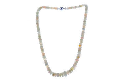 Lot 1392 - A FACETED OPAL BEAD NECKLACE
