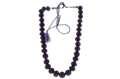 Lot 1422 - A SAPPHIRE BEAD NECKLACE