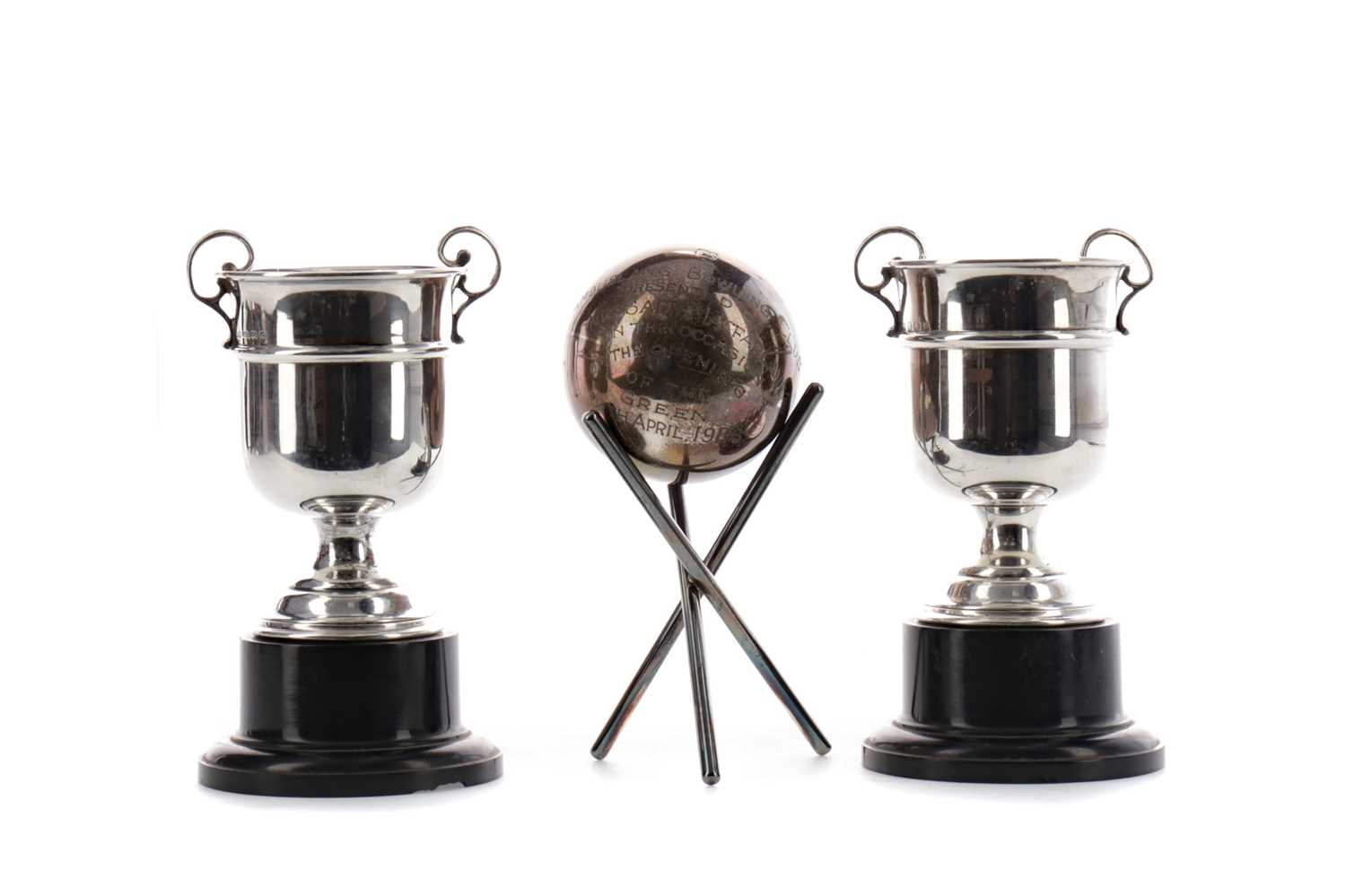 Lot 1706 - A LOT OF TWO SILVER TROPHY CUPS ALONG WITH A PRESENTATION JACK AND STAND