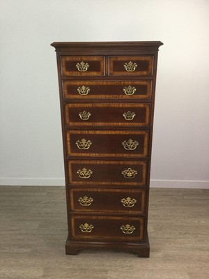 Lot 1677 - A MAHOGANY CROSSBANDED UPRIGHT CHEST OF GEORGE III DESIGN