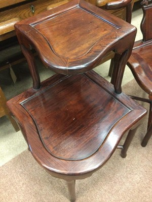 Lot 745 - A PAIR OF CHINESE HARDWOOD CORNER CHAIRS AND A TWO TIER TABLE