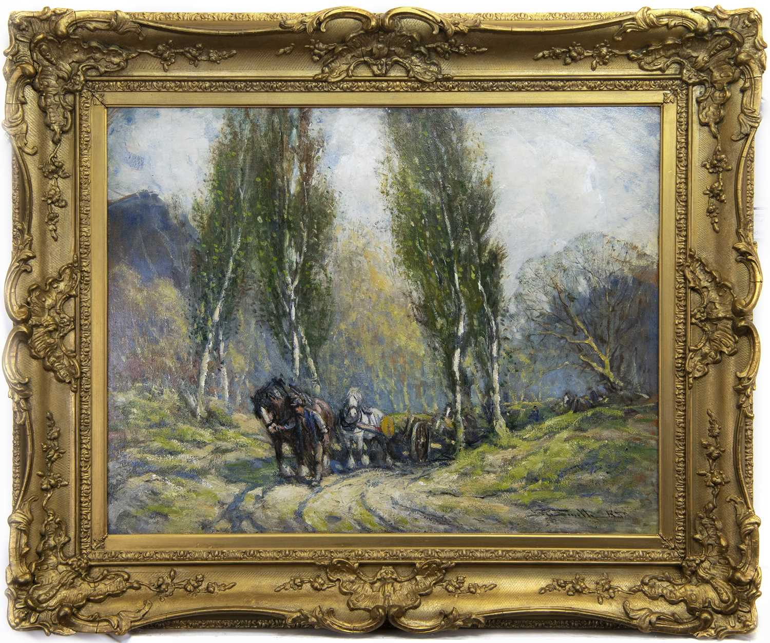 Lot 47 - CARTING TIMBER, AN OIL BY GEORGE SMITH RSA