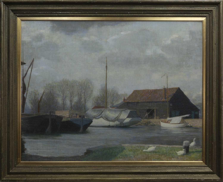 Lot 48 - DUTCH BARGES, HOORN, HOLLAND, A PASTEL BY JOHN BULLOCH SOUTER