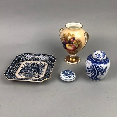 Lot 60 - A CHINESE BLUE AND WHITE LIDDED INK DISH AND OTHER ITEMS