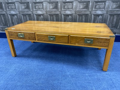 Lot 57 - A YEW WOOD COFFEE TABLE AND ANOTHER UNIT