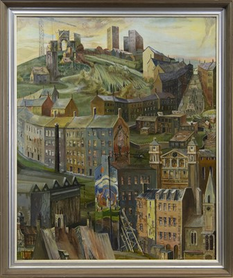 Lot 512 - LATE SNOW, THAWING CITY HILLS, AN OIL BY EDWARD CHISNALL