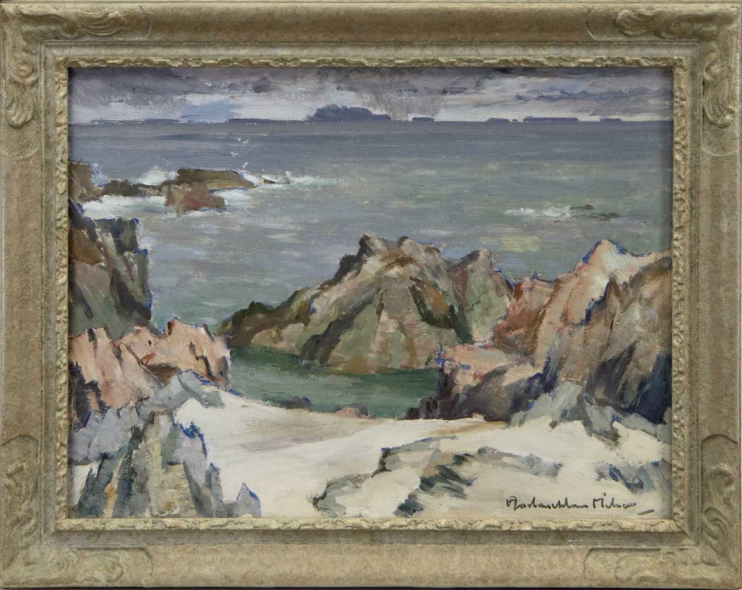 Lot 11 - IONA SHORE, AN OIL BY JOHN MACLAUCHLAN MILNE