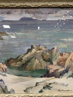 Lot 11 - IONA SHORE, AN OIL BY JOHN MACLAUCHLAN MILNE