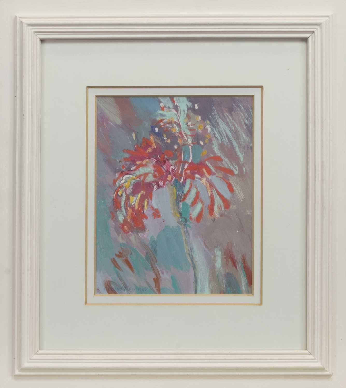 Lot 520 - SCARLET FLOWER, SANIBEL, A MIXED MEDIA BY IRENE LESLEY MAIN