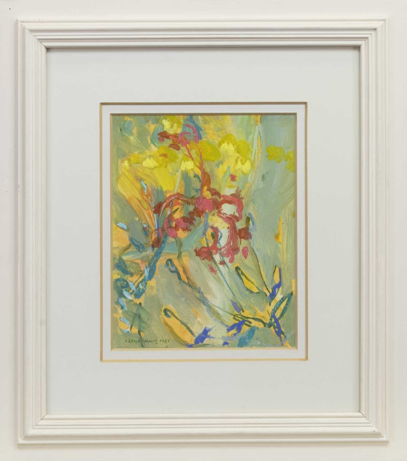 Lot 519 - YELLOW AND RED FLOWERS, SANIBEL, A MIXED MEDIA BY IRENE LESLEY MAIN