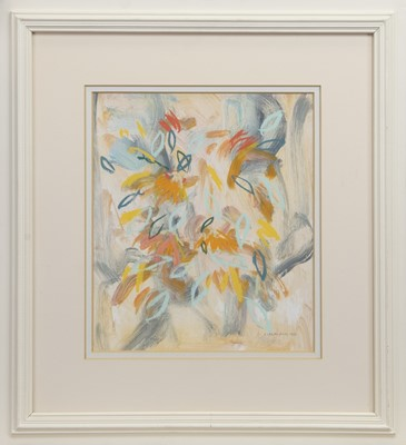 Lot 571 - SUMMER FLOWERS, A MIXED MEDIA BY IRENE LESLEY MAIN