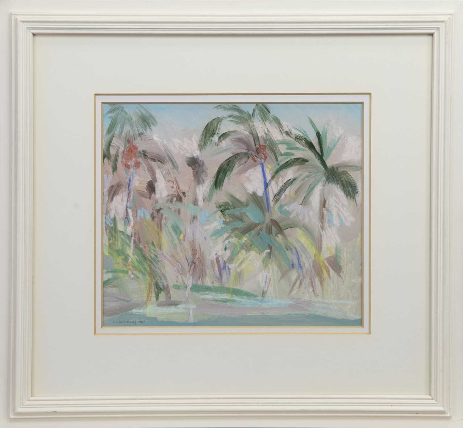 Lot 517 - PALM TREES, WEST GULF BEACH, A MIXED MEDIA BY IRENE LESLEY MAIN