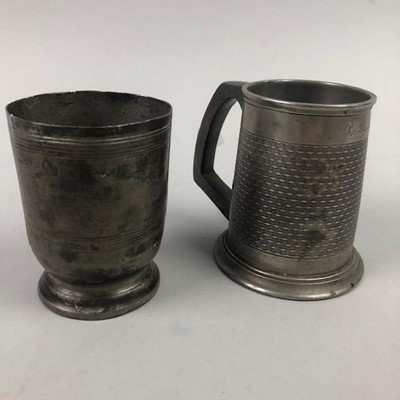 Lot 28 - A GEORGIAN PEWTER MEASURE AND A TANKARD
