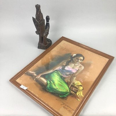 Lot 58 - A BALINESE MIXED MEDIA STUDY OF A SEATED GIRL, ALONG WITH A COROMANDEL WOOD CARVING