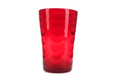 Lot 1001 - A WHITEFRIARS RED GLASS VASE