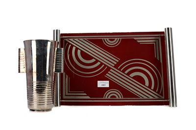 Lot 1003 - AN ART DECO TRAY AND PLATED BEAKER