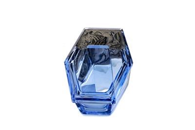Lot 1011 - A CZECH BLUE GLASS POWDER JAR AND COVER