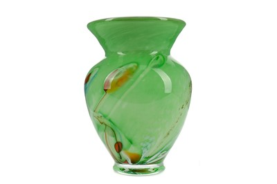 Lot 1014 - A FRENCH ALSACE GREEN GROUND GLASS VASE