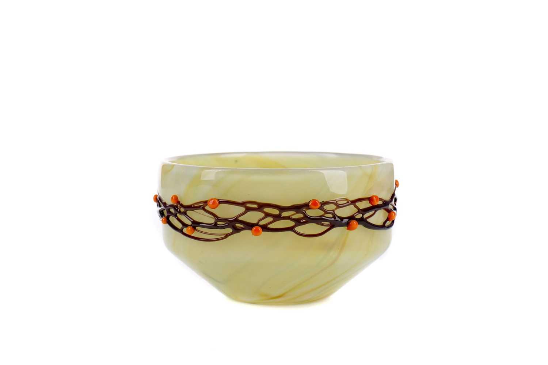 Lot 1025 - AN EARLY 20TH CENTURY CARL-GEORG VON REICHENBACH YELLOW GROUND GLASS BOWL