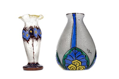 Lot 1017 - TWO EARLY 20TH CENTURY FRENCH FROSTED AND ENAMELLED GLASS VASES