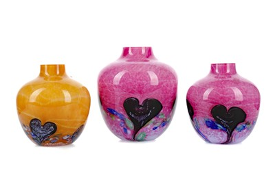 Lot 1019 - A COLLECTION OF FIVE CAITHNESS COLOURED GLASS VASES