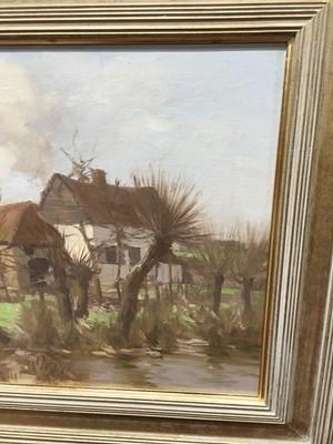 Lot 56 - A FRENCH FARMHOUSE, AN OIL BY DAVID GAULD