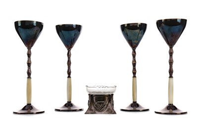 Lot 403 - SET OF FOUR EARLY 20TH CENTURY WMF SILVER PLATED LIQUEUR GLASSES, ALONG WITH AN OPEN SALT