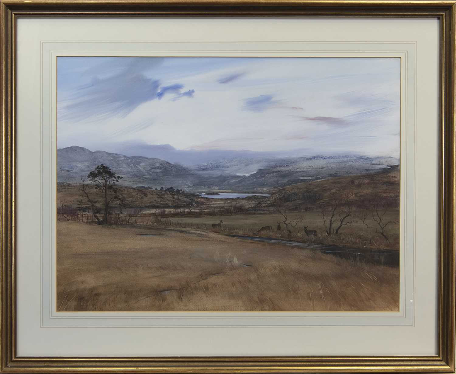Lot 528 - HINDS AT EVENING, A MIXED MEDIA BY IAIN ROSS