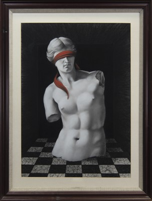 Lot 530 - BLINDFOLDED VENUS, A MIXED MEDIA BY BILL GILLON