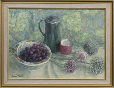 Lot 556 - STILL LIFE WITH GRAPES, AN OIL BY ANN MACMILLAN