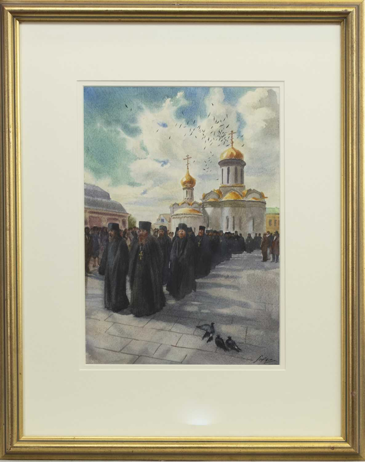 Lot 558 - THE TRINITY LAVRA OF ST SERGIUS, A RUSSIAN WATERCOLOUR