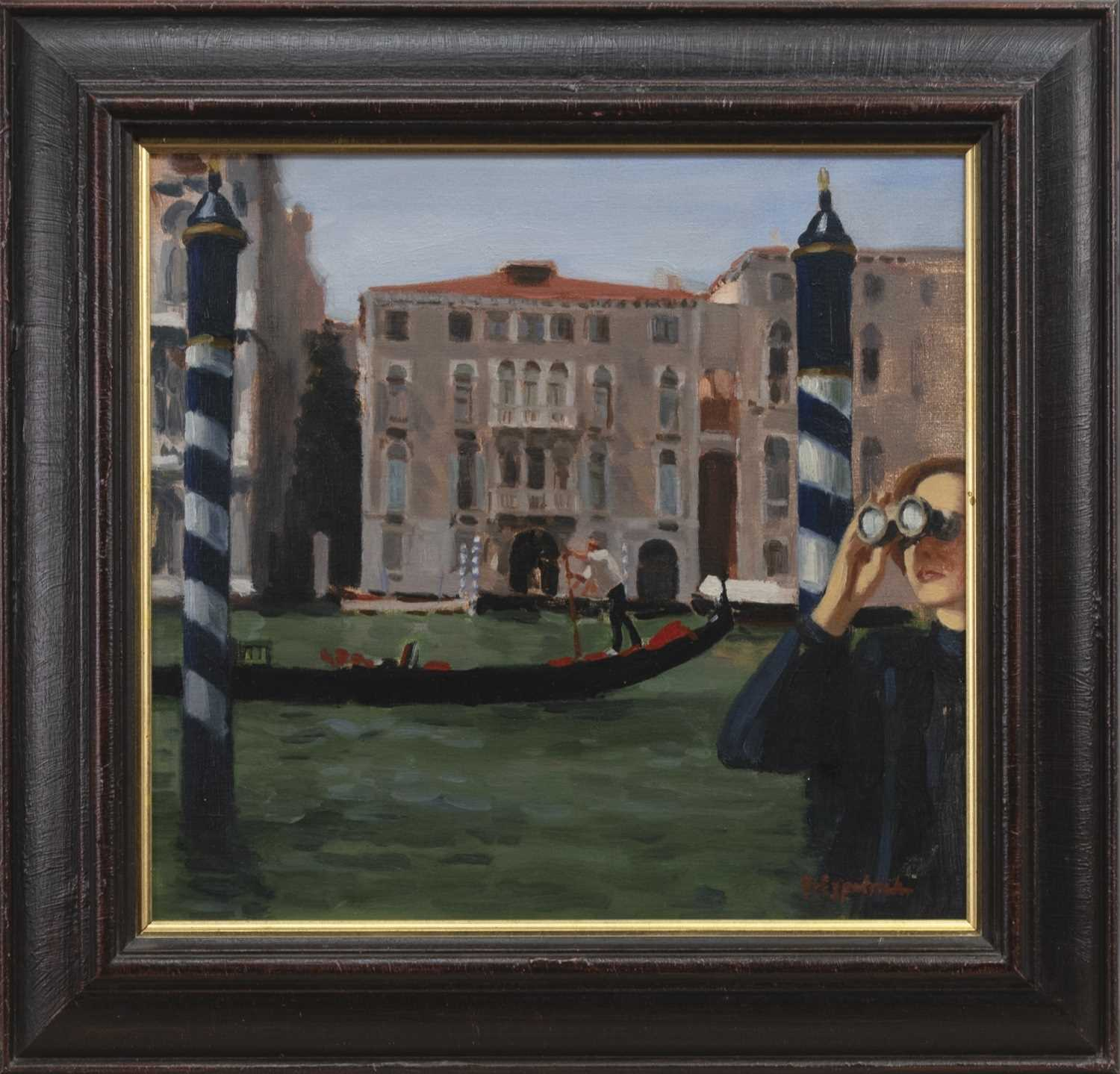 Lot 560 - VENICE SCENE, AN OIL BY ANDREW FITZPATRICK
