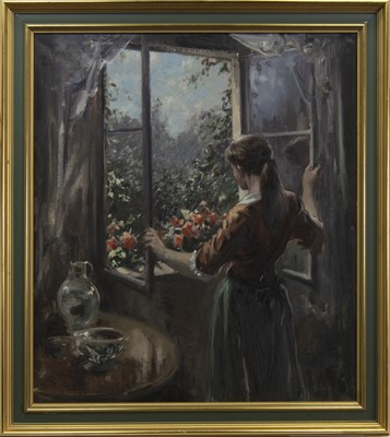 """Lot 588 - OUT THE WINDOW, AN OIL BY """"BECKER"""""""