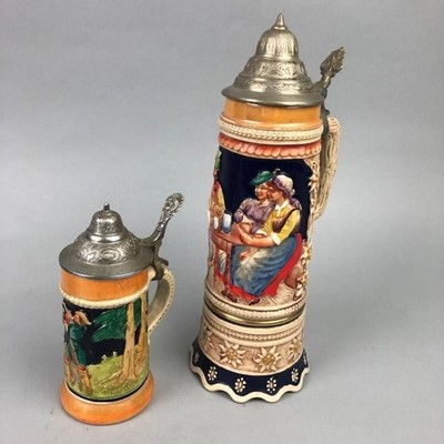 Lot 79 - A 20TH CENTURY GERMAN BEER STEIN AND OTHER CERAMICS