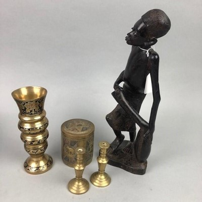 Lot 82 - AN AFRICAN CARVED FIGURE AND A COLLECTION OF BRASS
